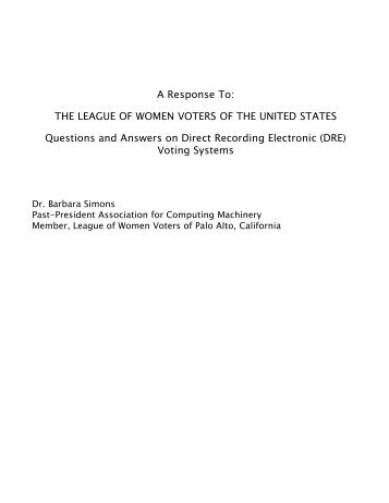 A Response To: THE LEAGUE OF WOMEN VOTERS - Schneier on ...