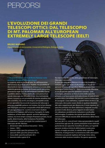 L'evoluzione dei grandi telescopi ottici: dal telescopio