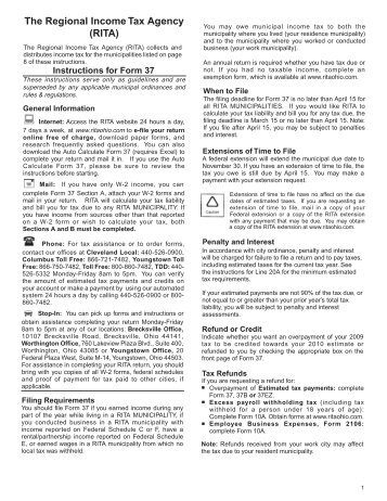 Instructions Form 37 - The Regional Income Tax Agency