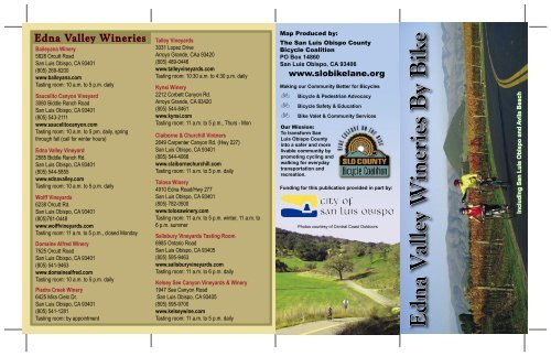 Edna Valley Wineries by Bike Map - San Luis Obispo