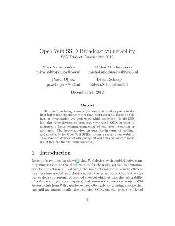 Open Wifi SSID Broadcast vulnerability
