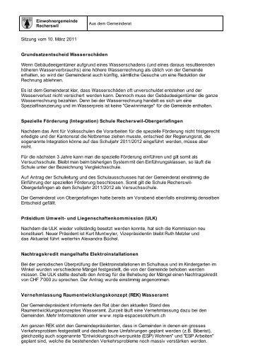 Sitzung vom 10. März 2011 - Recherswil