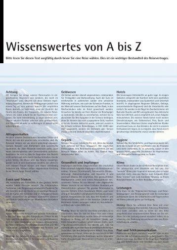 Wissenswertes von A bis Z - Reisen und Kultur