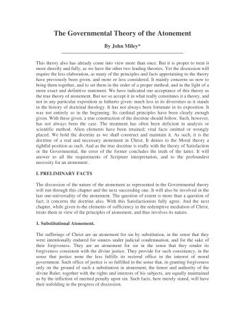 The Governmental Theory of the Atonement - Library of Theology
