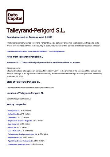 Talleyrand-Perigord SL, Spain - Companies - Dato Capital