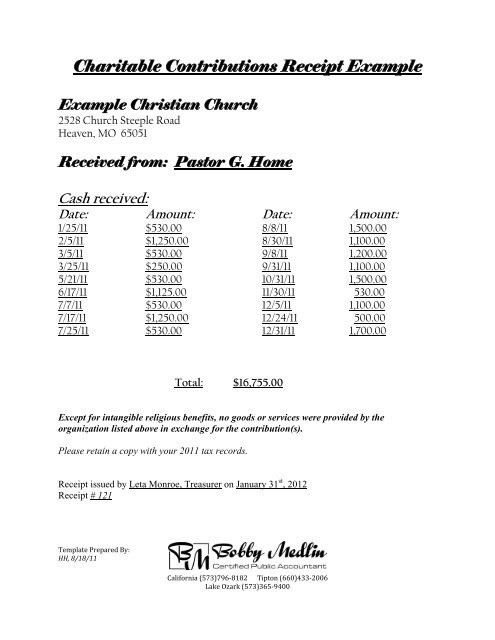 Charitable Contributions Receipt Example