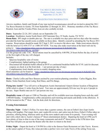 Recce Reunion Registration Form Revised - Tac Recce