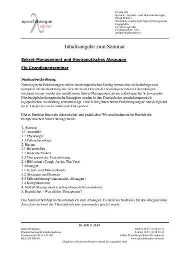 Seminarbeschreibung - Logopädie Winter