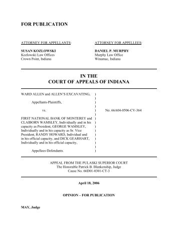 Ward Allen and Allen's Excavating v. First National ... - State of Indiana