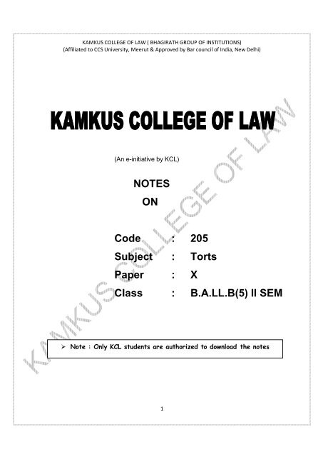 BL-205 Torts - Kamkus College of LAW