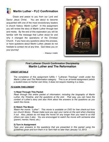 Luther Assignment - First Lutheran Church