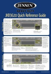 JHD3620 Quick Reference Guide - Jensen Heavy Duty