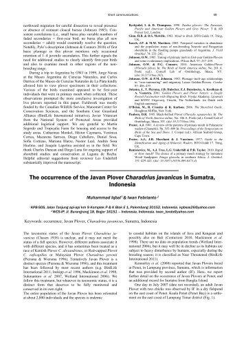 Wader Study Group Bulletin 118(2) - Rufford Small Grants