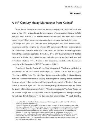 A 14th Century Malay Manuscript from Kerinci1 - Sabrizain.org