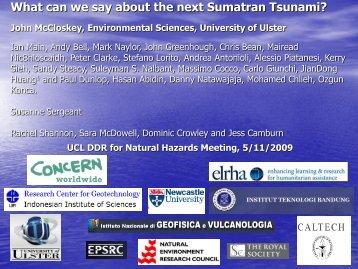What can we say about the next Sumatran Tsunami? - UCL