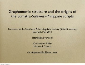Graphonomic structure and the origins of the Sumatra-Sulawesi ...