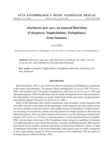 Akarbatrus gen. nov., an unusual Batrisitae - Acta Entomologica ...