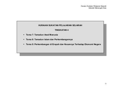HURAIAN SUKATAN PELAJARAN SEJARAH TINGKATAN 4 Tema 7