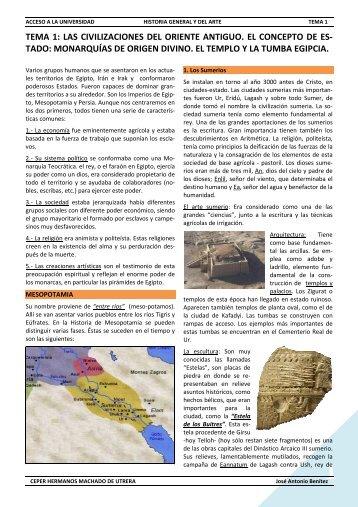 TEMA 1: LAS CIVILIZACIONES DEL ORIENTE ANTIGUO. EL ...