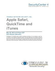 Apple Safari, QuickTime and iTunes - Tenable Network Security