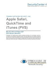 Apple Safari, QuickTime and iTunes (PVS) - Tenable Network Security
