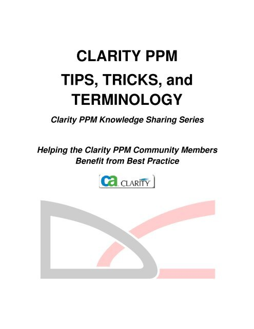 CLARITY PPM TIPS, TRICKS, and TERMINOLOGY - Digital Celerity