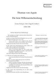 Text des Thomas von Aquin über die freieWillensentscheidung