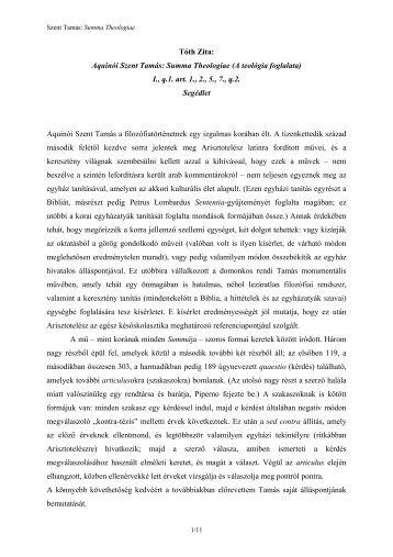 Aquini Szent Tams: Summa Theologiae