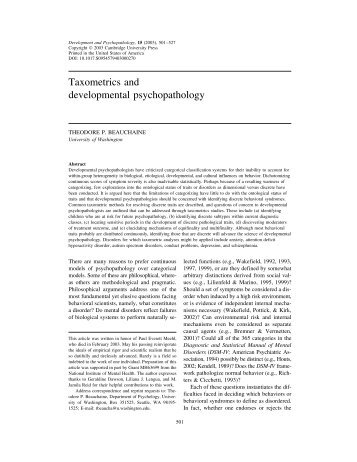 Taxometrics and developmental psychopathology - Cambridge ...