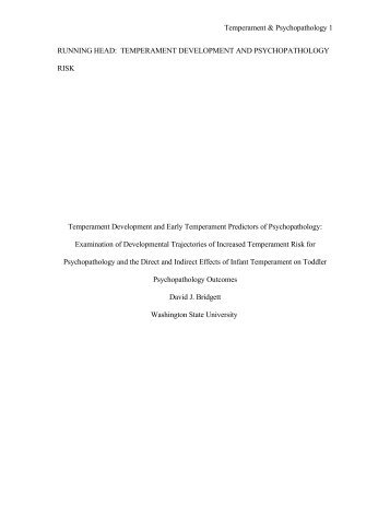Temperament Development and Early Temperament Predictors of ...