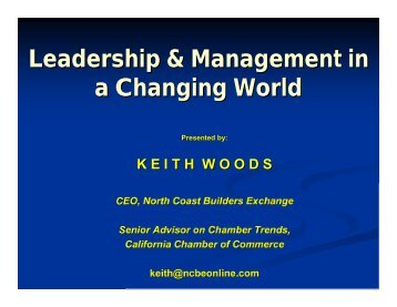LEADERSHIP AND MANAGEMENT IN A CHANGING WORLD