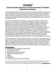PROMIS Instrument Development and Psychometric Evaluation ...