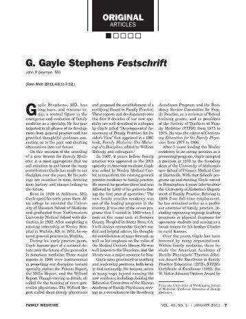 G. Gayle Stephens Festschrift - STFM
