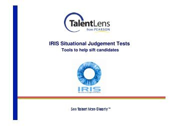 IRIS Situational Judgement Tests - Webinar Slides - TalentLens