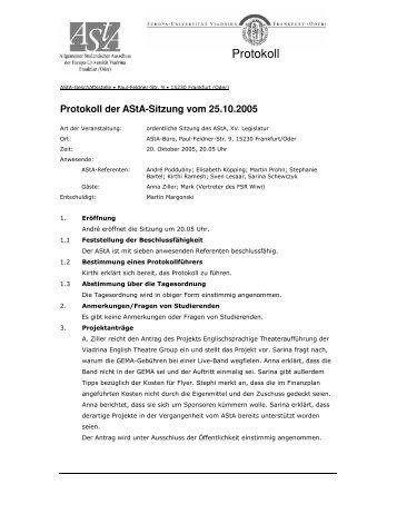 Protokoll - AStA der Europa-Universität Viadrina
