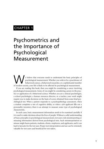 Psychometrics and the Importance of Psychological Measurement