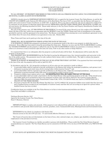 Upset Sale Property Listing April 25, 2013 - Luzerne County Tax ...