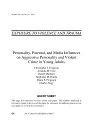Personality, Parental, and Media Influences on Aggressive Personality