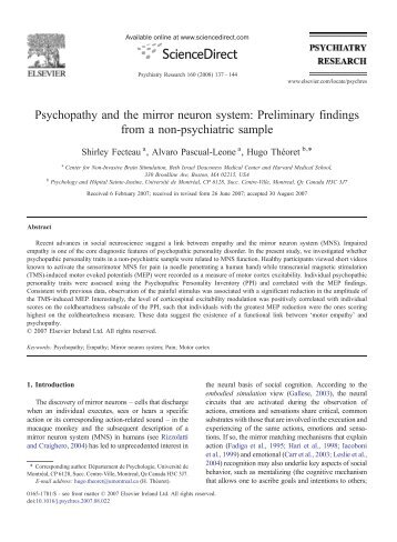 Psychopathy and the mirror neuron system: Preliminary findings ...