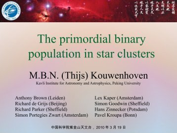 The primordial binary population in star clusters - (SFIG) of PMO ...