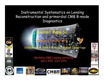 Speaker: Meng Su Harvard University Instrumental Systematics on ...