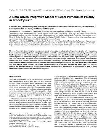 A Data-Driven Integrative Model of Sepal Primordium Polarity in ...