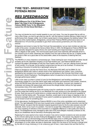 tyre test– bridgestone potenza reo50 re0 speedwagon - Car & Driving