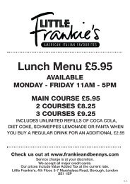 Lunch Menu £5.95 - Frankie and Bennys