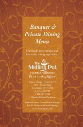 Banquet & Private Dining Menu - The Melting Pot