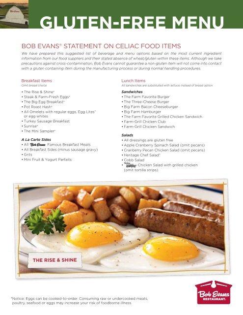 photo regarding Bob Evans Printable Menu identify GLUTEN-Cost-free MENU - Bob Evans
