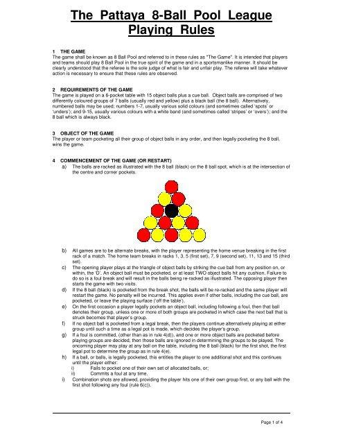 The Pattaya 8-Ball Pool League Playing Rules - Pattaya