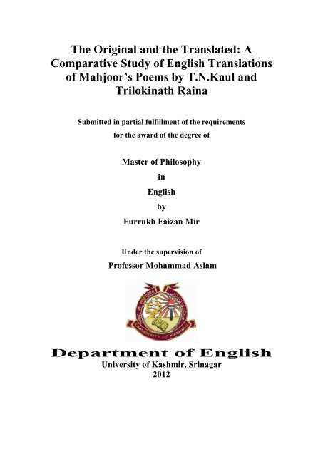 M Phil Thesis Farrukh Faizan Mir pdf - Univeristy of Kashmir