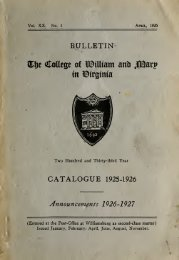 Bulletin of the College of William and Mary in Virginia--Catalogue ...