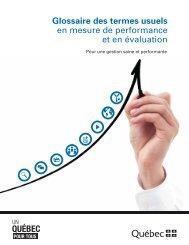 Glossaire des termes usuels en mesure de performance et en évaluation